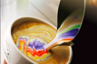 Rainbow latte at Beans