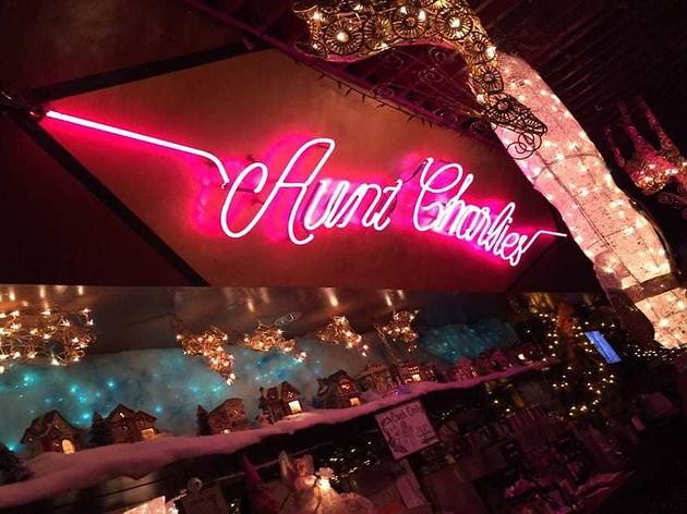 Neon sign in Aunt Charlie's Lounge