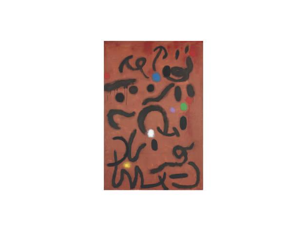 Joan Miró Escritura sobre fondo rojo