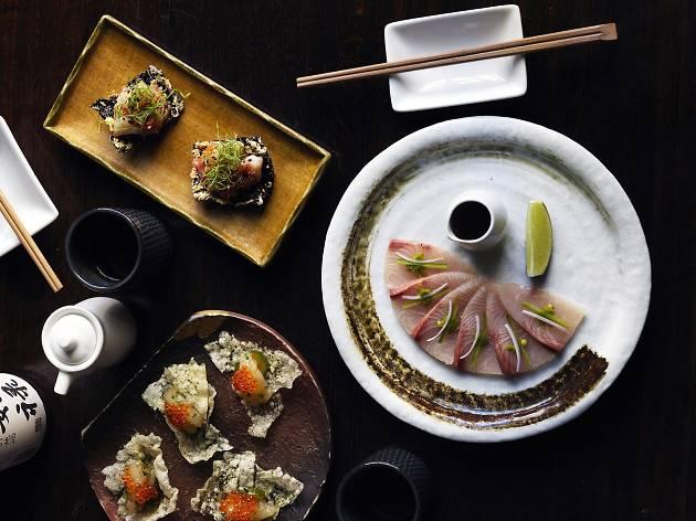 Sake Nori crisp, scampi, kingfish