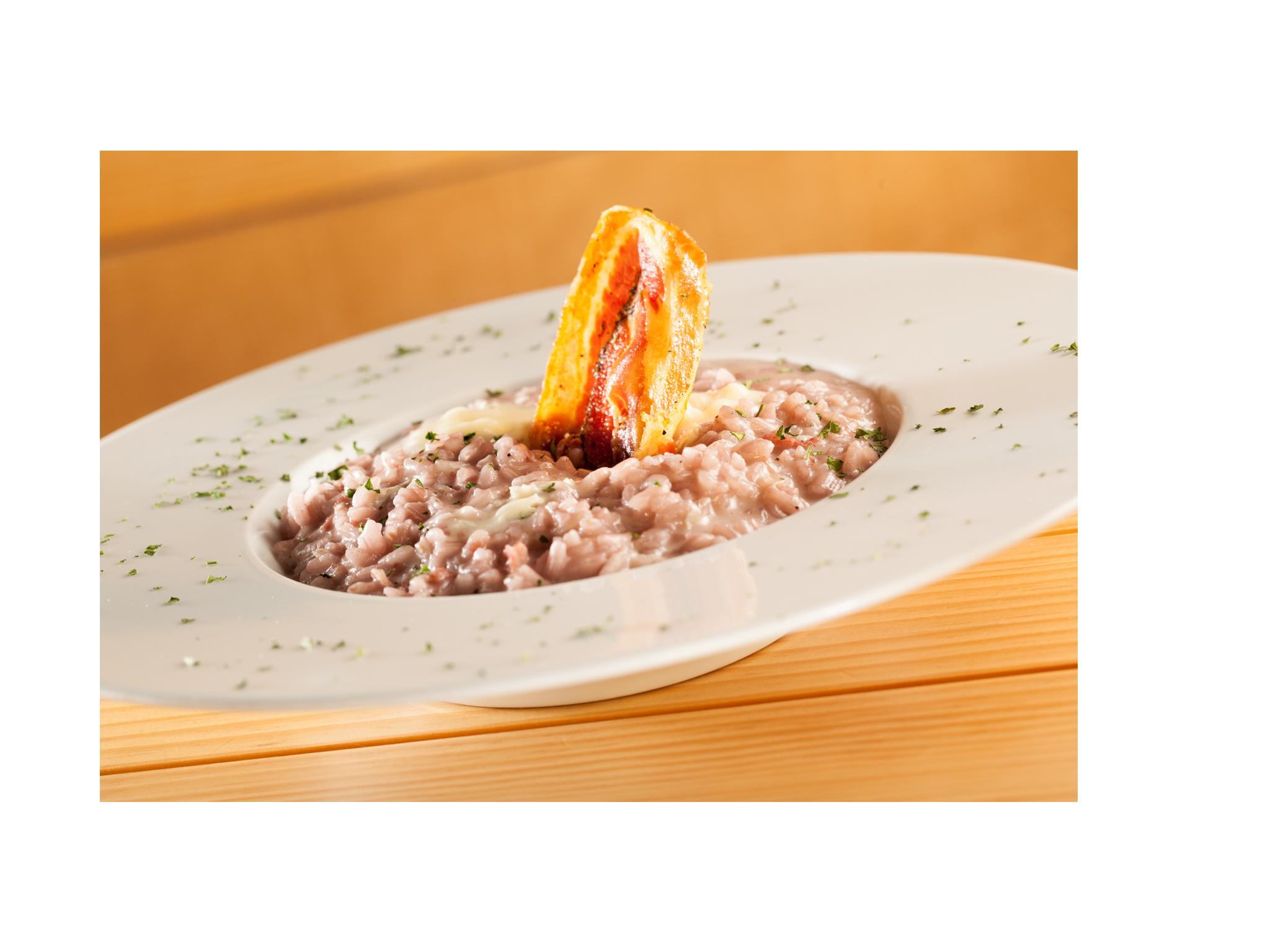 Risotto al Lambrusco, pancetta arrotolata e gongonzola3