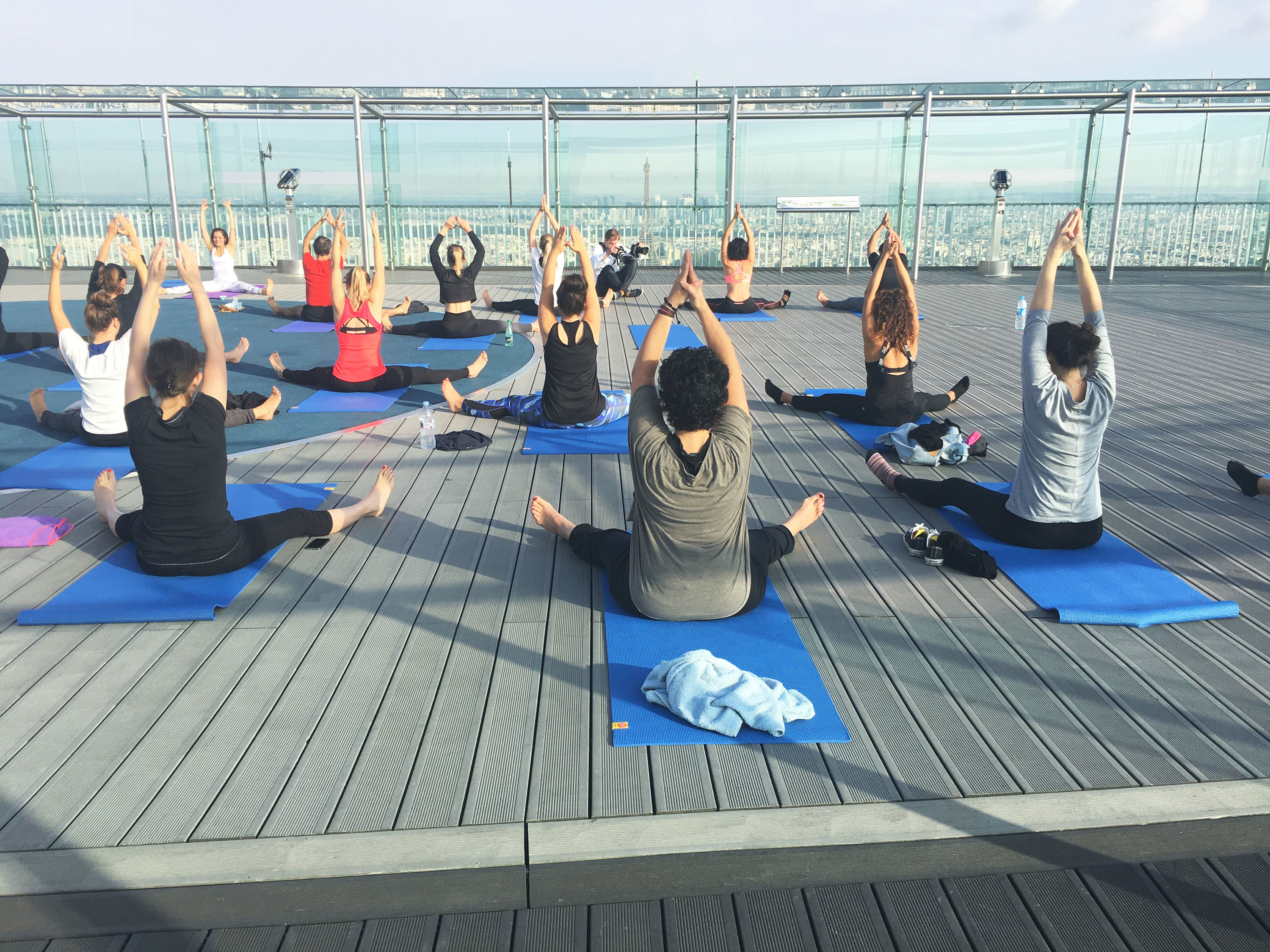 Yoga classes on the rooftop of Montparnasse Tower