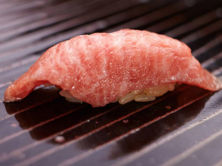 Sample jet-fresh sushi and sashimi