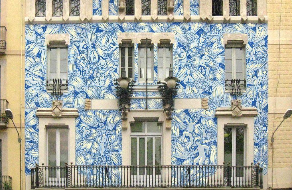 Un mural transforma la seu del districte