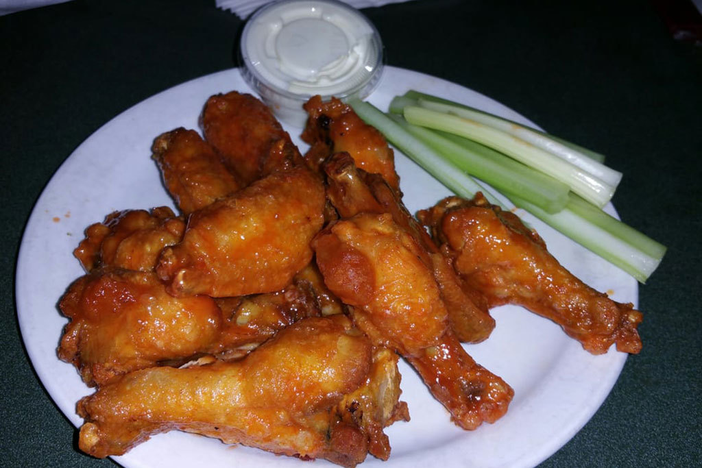 Sweet-spicy honey hot wings at Buff's Pub in Boston