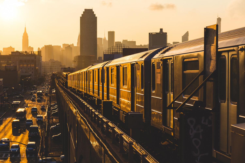 Subway Train in New York at Sunset, NYC, New York City, subway, MTA, skyline