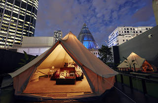 A glamping tent at night on top of Melbourne Central