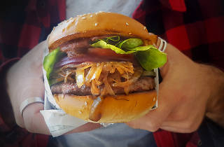 someone holding a classic hamburger