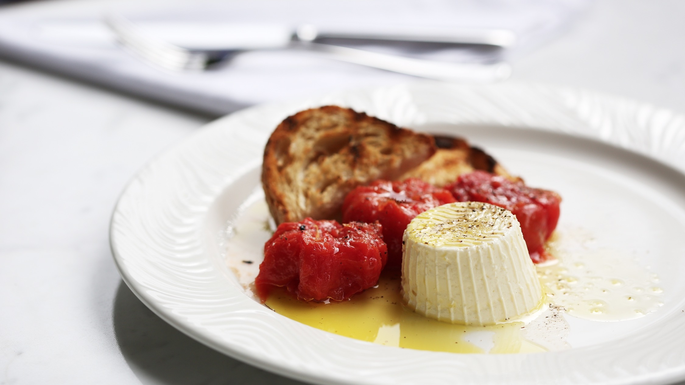 Cheese, tomatoes and toast at Rosetta