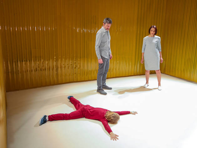 Looking Glass 2017 Fortyfive Downstairs production still feat Thomas Taylor (child on ground), Peter Houghton, Daniella Farinacci photographer credit Pier Carthew