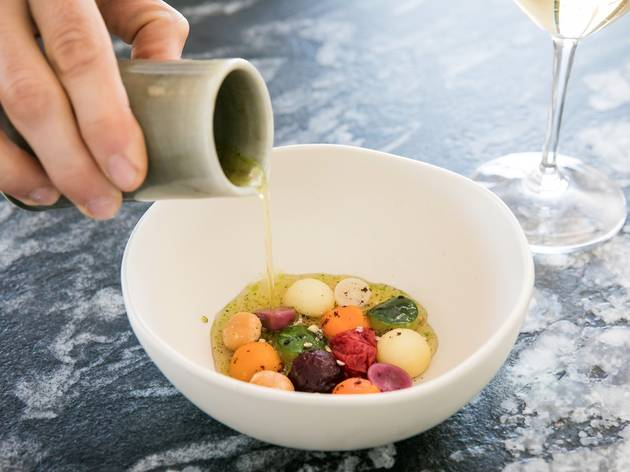 Pouring soup at Lumi, Pyrmont