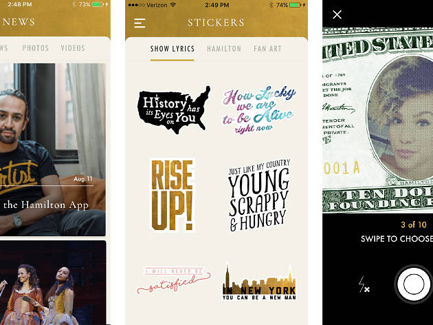 'Hamilton' just launched a mobile app with ticket lottery, emojis and camera filters