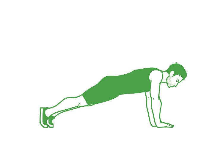 Plancha con brazos estirados