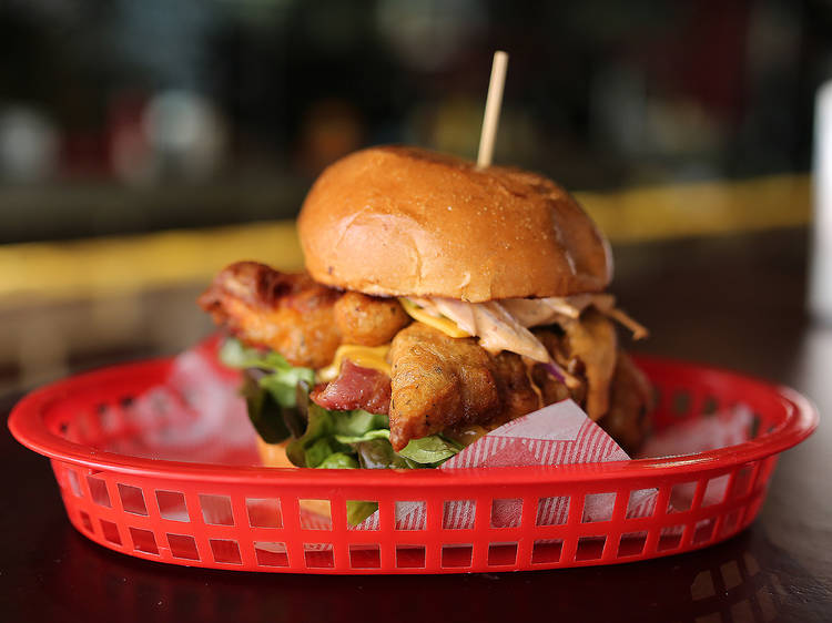 Chipotle chicken burger at Batch Burgers and Espresso