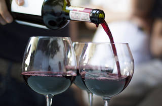 Generic red wine pouring