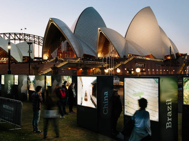 Water Stories 2017 Royal Botanic Gardens installation view with Sydney Opera House in background Photo supplied