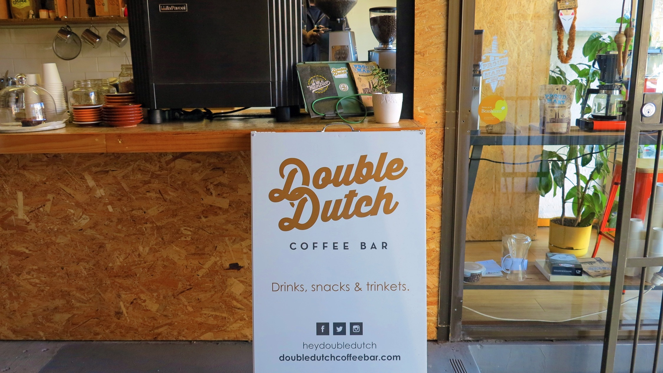 Sign at Double Dutch Coffee Bar