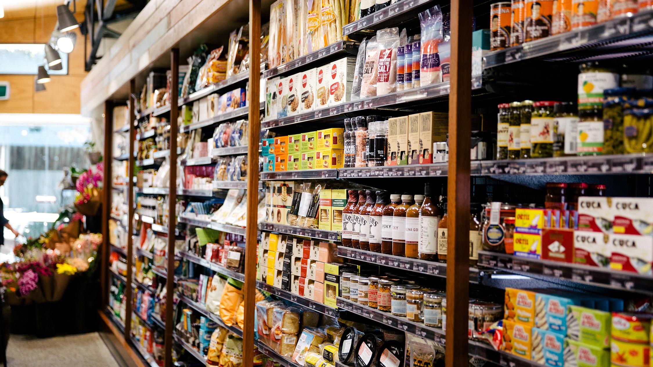 Shopping shelves at Hawthorne Garage