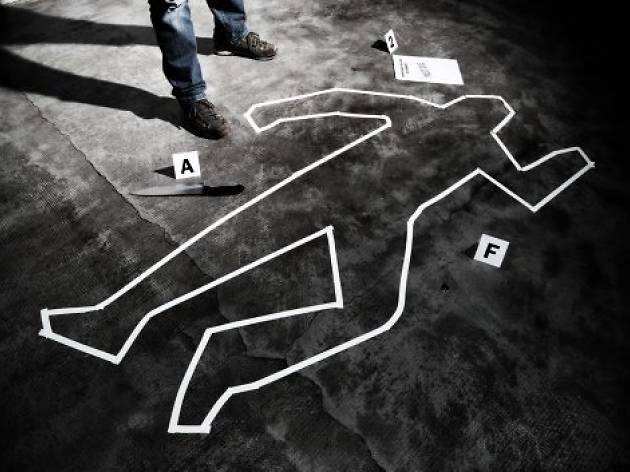 Chalk outline of body with clue labels