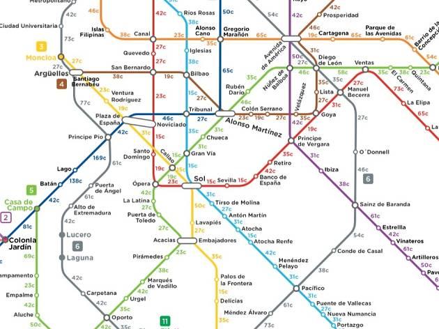 Mapa de calorías del Metro de Madrid
