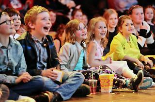 Children watching a movie