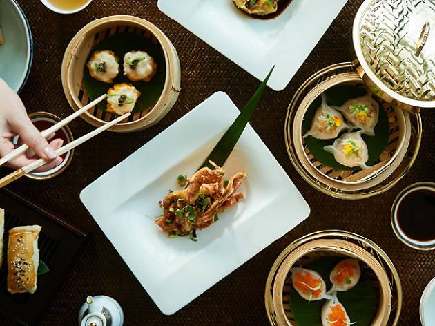 Plates of dumplings