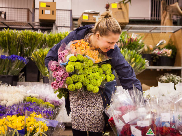 Florist Hannah Coomber at the Flower Markets