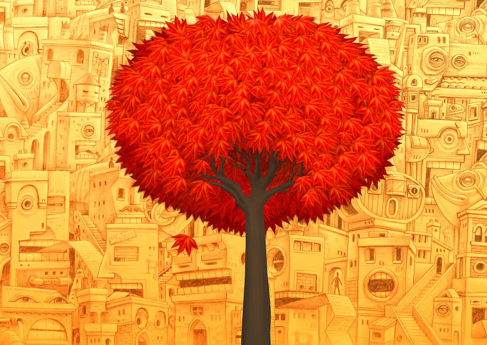 A large red tree against a yellow background