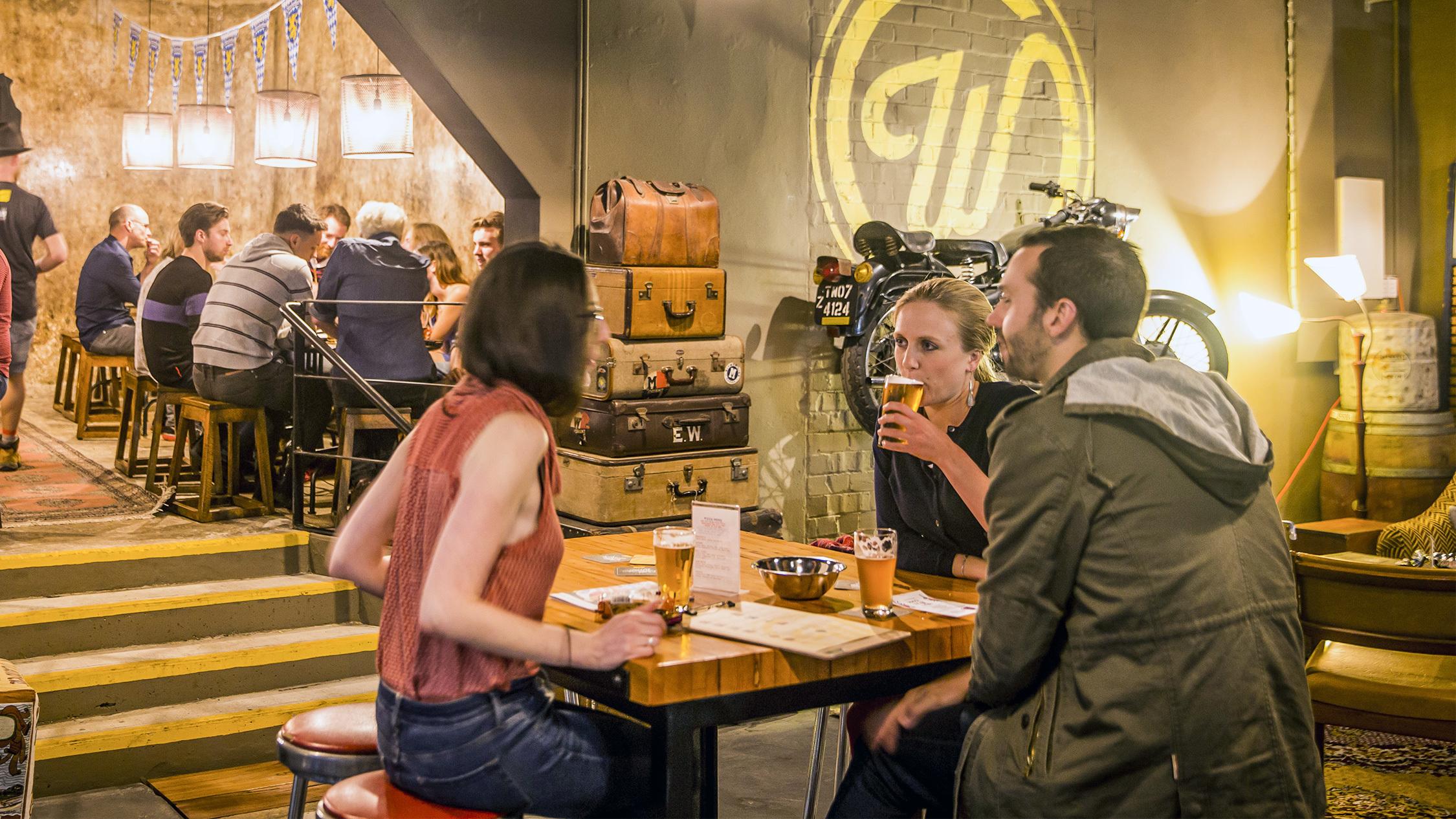 Three people at Wayward Brewing Co, Camperdown