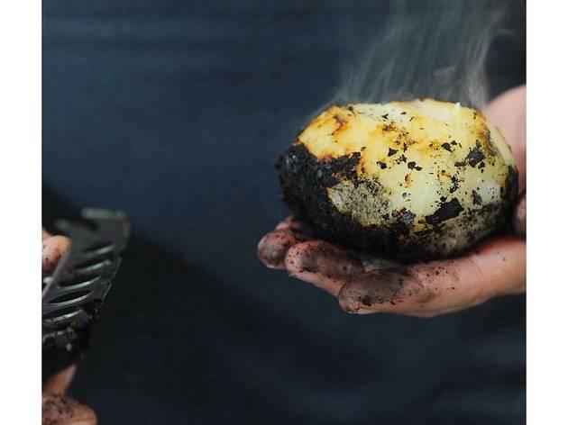 Coal-Roasted Kohlrabi with Hame'iri Cheese - Ha'achim, Dok