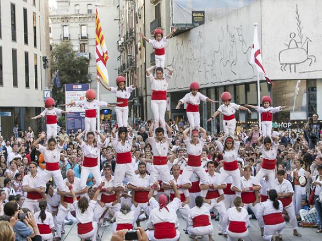 La Mercè 2017: Morning of bastoners and cercavila + Moixiganga + Falcons de Barcelona