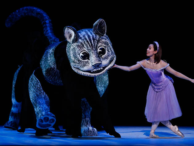 Alice's Adventures in Wonderland 2017 The Australian Ballet production still 01 feat Ako Kondo with Cheshire Cat photographer credit Jeff Busby
