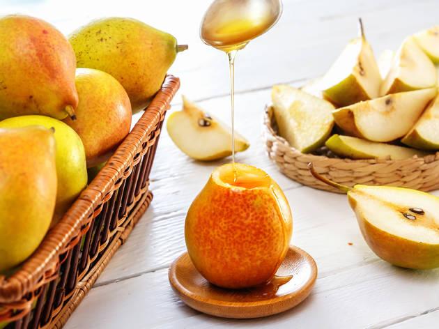 Peras con miel