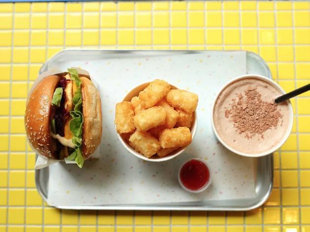Burger, potato gems and milkshake at 8bit Burger