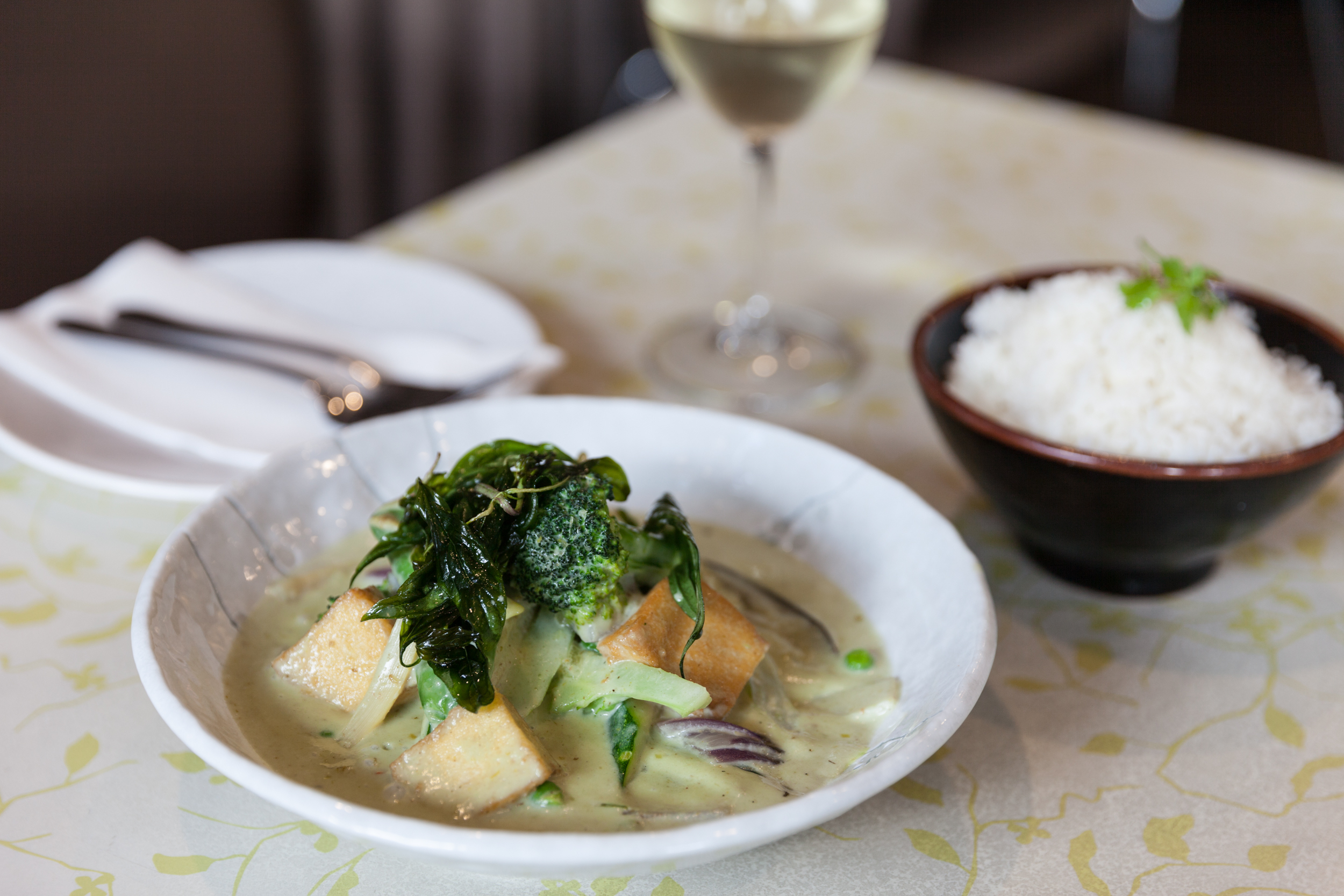 Vegetable and tofu green curry at Lemongrass Thai Bistro