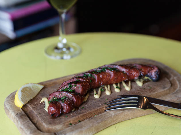 Boston Bay offal sausage with mustard Press* Food & Wine