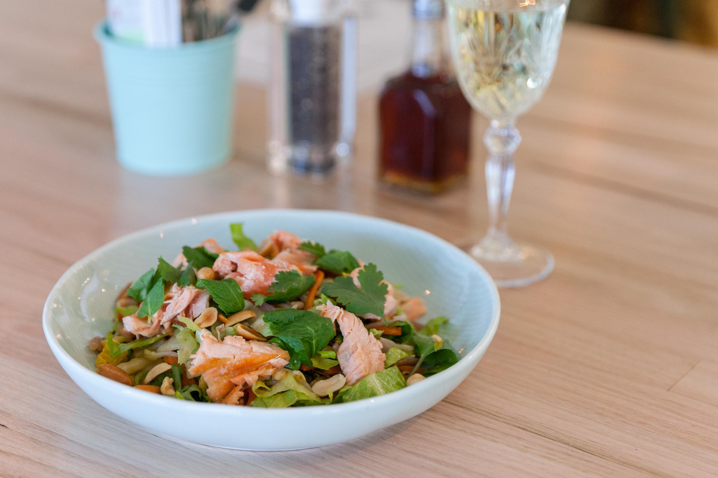 Vietnamese salmon salad bowl at Drunken Sailor