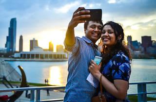 couple, selfie, adler, planetarium, Adler Planetarium