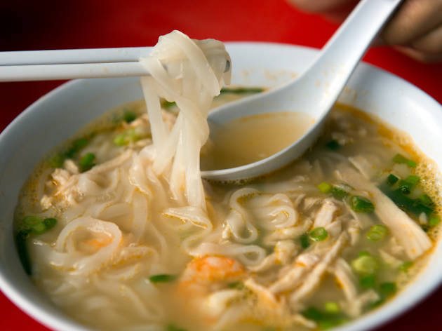noodle soup with shredded chicken