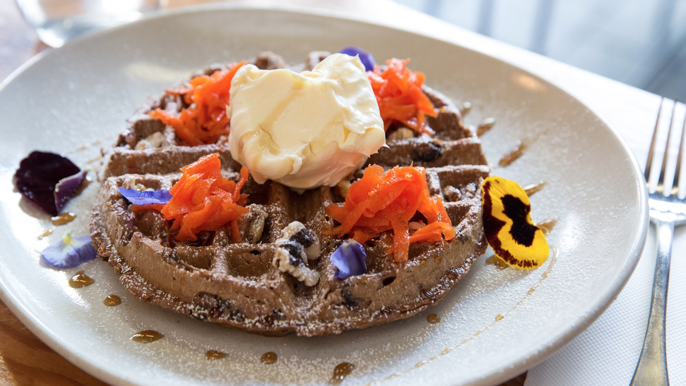 Waffles with carrot at Joseph Hyde