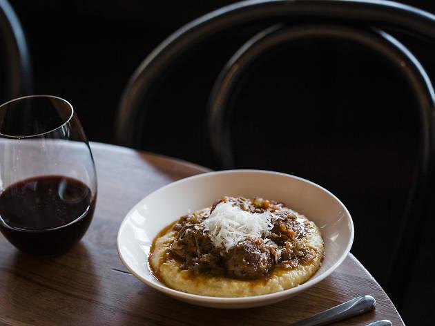 Nonnas meatballs, soft polenta, parmigiano at Lulu La Delizia