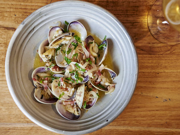 Shark bay clams, prosciutto, garlic, parsley and chargrilled common loaf at Il Lido, $19