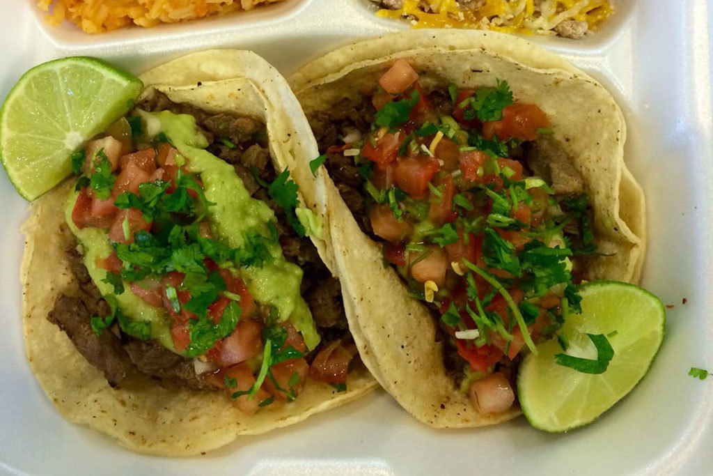Carne asada tacos at Chile Verde Express Mexican Grill
