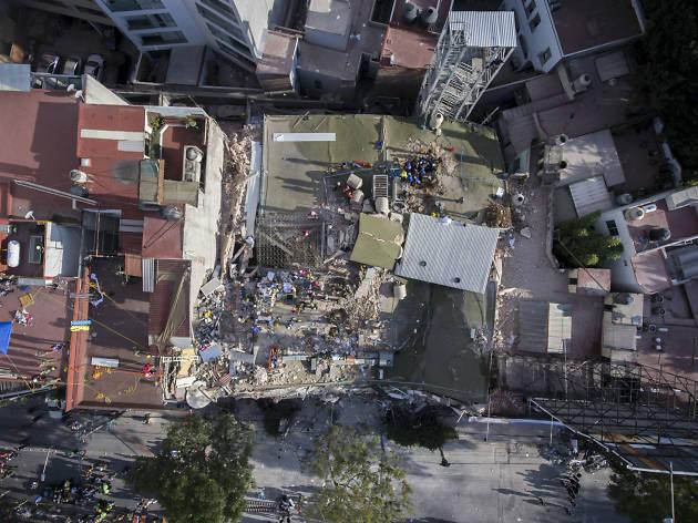 Sismo en la CDMX, vista aérea