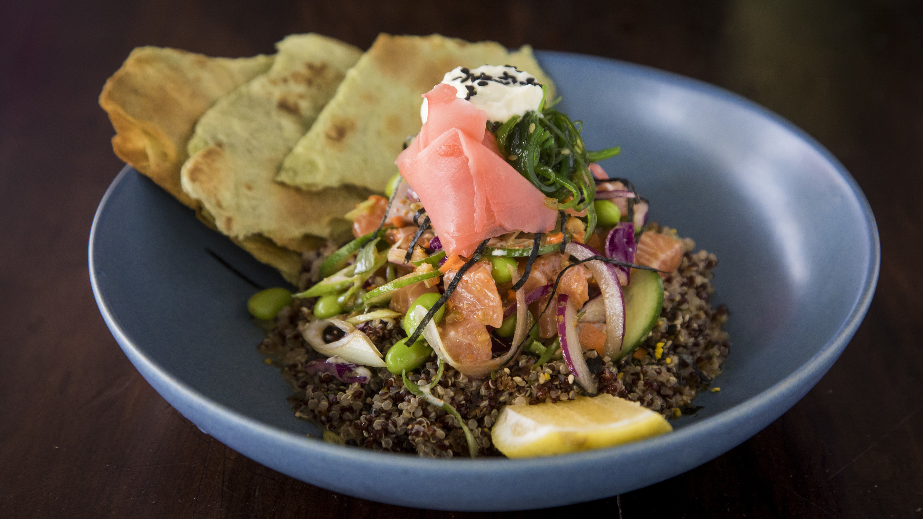Salmon poke bowl at Vida Surf Store