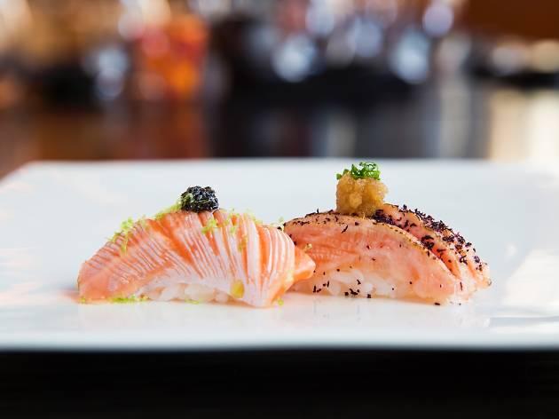 Salmon belly aburi at Sokyo, $20