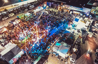 An overhead drone shot of a food festival