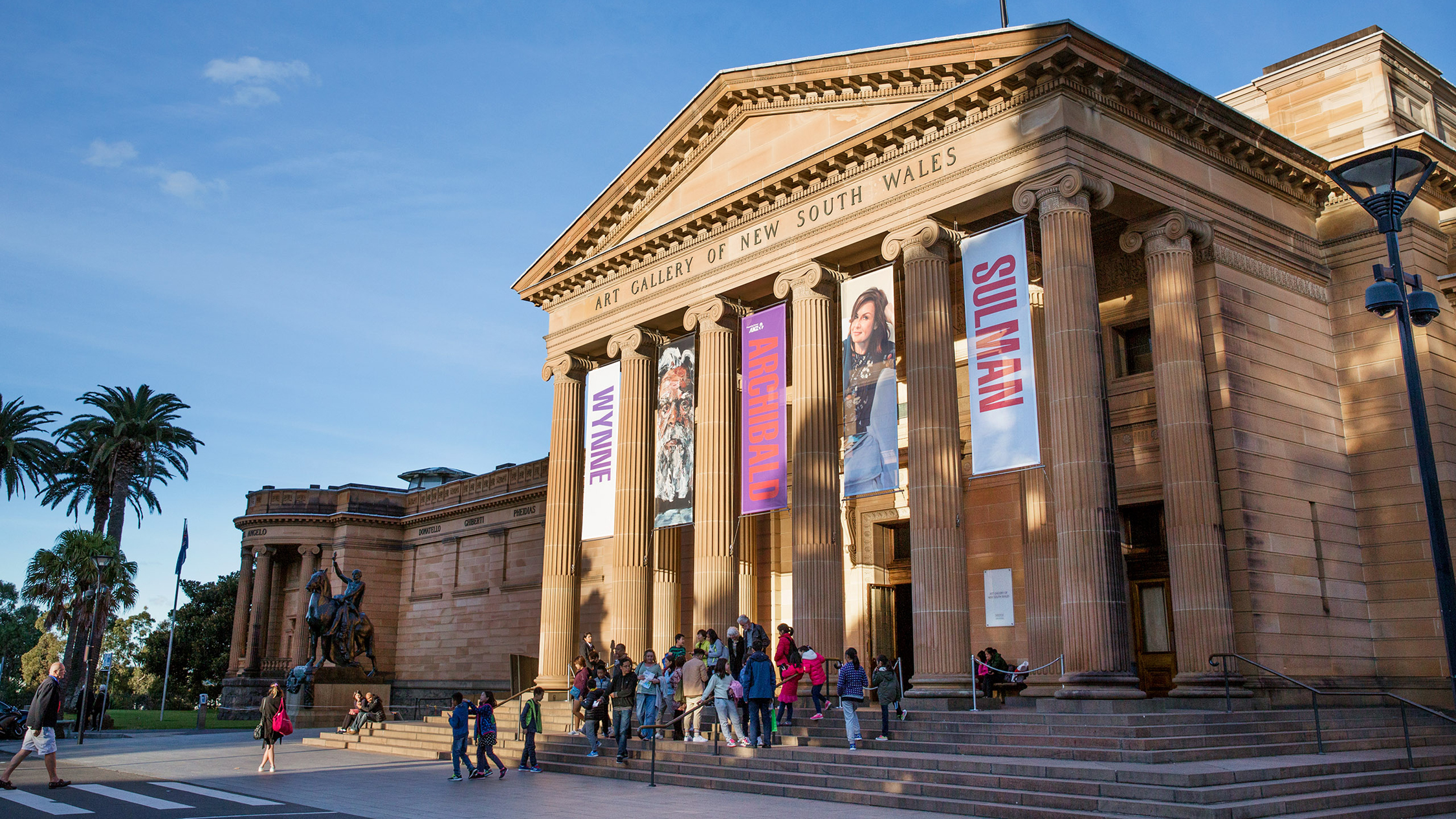 Art Gallery of New South Wales 2017 exterior daylight August feat Archibald Prize banners (C) AGNSW photographer credit Felicity Jenkins