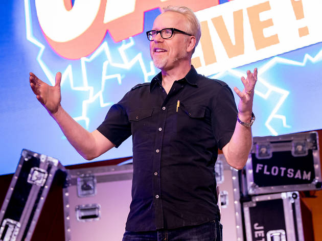Adam Savage on stage at Brain Candy Live