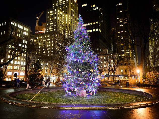 A Christmas tree in Madison Square Park during Christmas in NYC